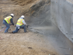Shotcrete installation in California